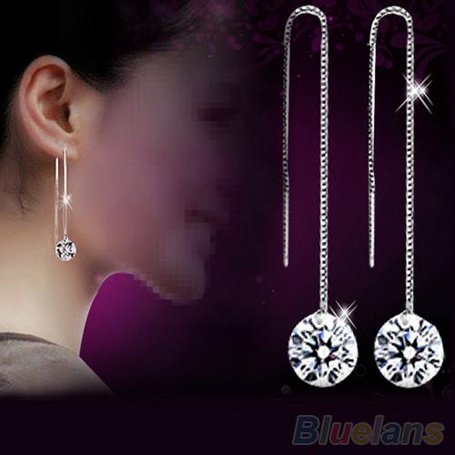 Women's Zircon Topaz 925 Sterling Silver Drop Dangle Chain Earrings 6B41(China (Mainland))