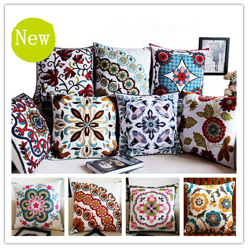Buy cotton canvas embroidery flowers pillow cushion decorative sofa cushions - Enhance your home decor with fancy cushions ...