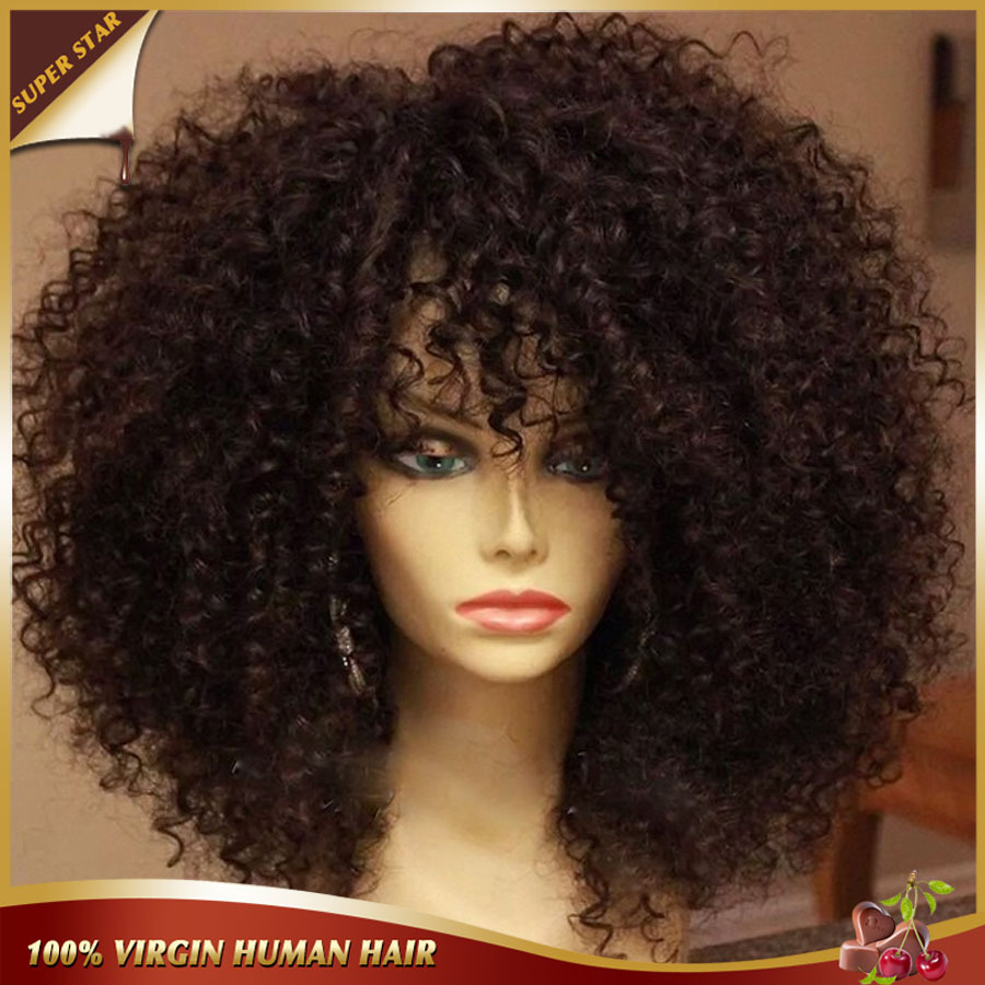 6A Afro Kinky Curly Short Human Hair Wigs Virgin African American Short Curly Wigs Glueless Full Lace Front Wigs For Black Women(China (Mainland))
