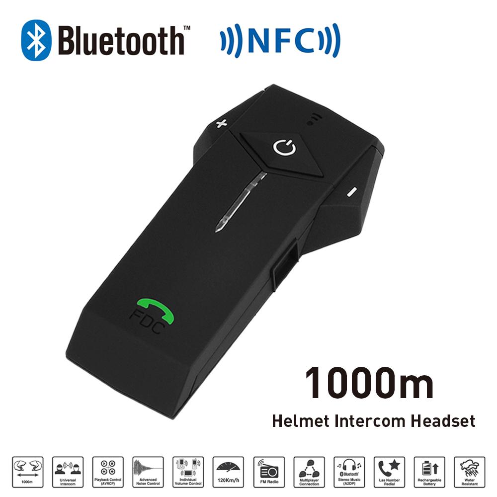 New 1000M BT NFC FM Radio Function Motorcycle Helmet Bluetooth Intercom Headset Interphone Headphone For Phone/GPS/MP3(China (Mainland))