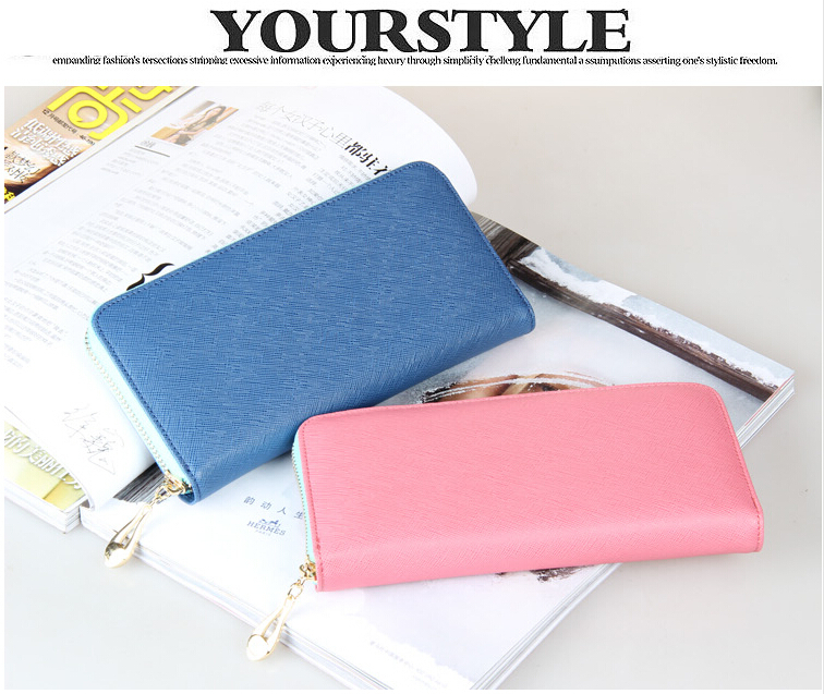 Lady Purse Card High Capacity Bump Color Buckles Women Long Wallets Womens Wallets and Purses(China (Mainland))