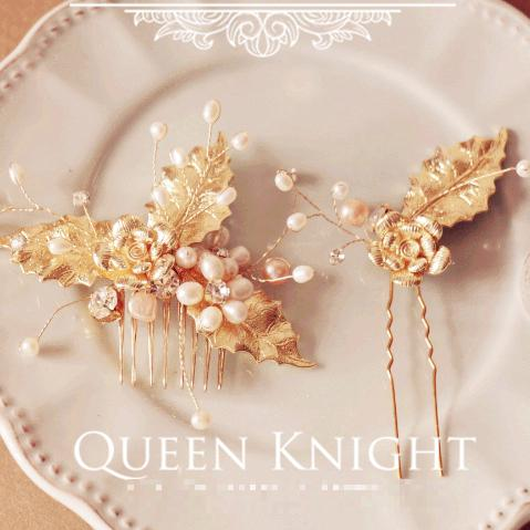 Design Carat Gold Leaf Pearl Flower Comb Bride Bridesmaid Headdress Decorations For Hair Hello Kitty Women Accessories(China (Mainland))