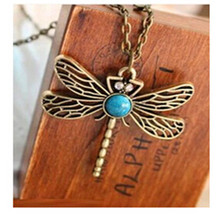 x5  2015 New Vintage Jewelry Accessories Fashion European And American Style Retro Dragonfly Necklace Free Shipping(China (Mainland))