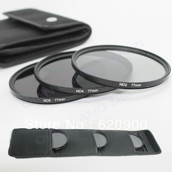 100% GUARANTEE10pcs New 77mm Neutral Density ND2 ND4 ND8 ND 2+4+8 Filter Set with case 77 mm Kit For camera DSLR Lens(China (Mainland))