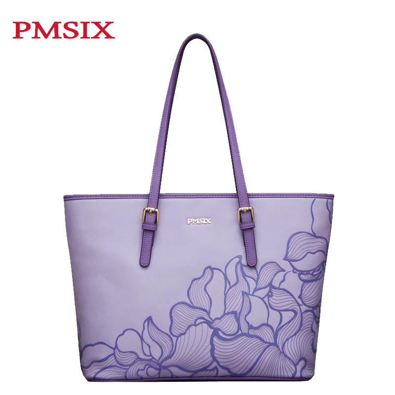 Фотография Pmsix 2015 Famous Brand Women Bag Fashion High Quality PU Women Totes Handbags Vintage Printing Women Shoulder Bags