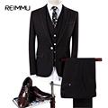 Reimmu Suit Men Slim Fit 2017 New Style Classic Wedding Business Personalized Suit Jacket Dress Pants