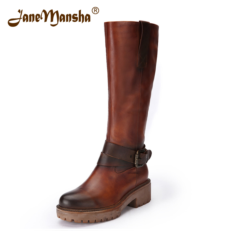 JaneMansha Autumn Knee High Boots RETRO Genuine Leather Buckle Strap Zip Handmade 4.5CM Heels Women Boots Winter Riding RWB032(China (Mainland))