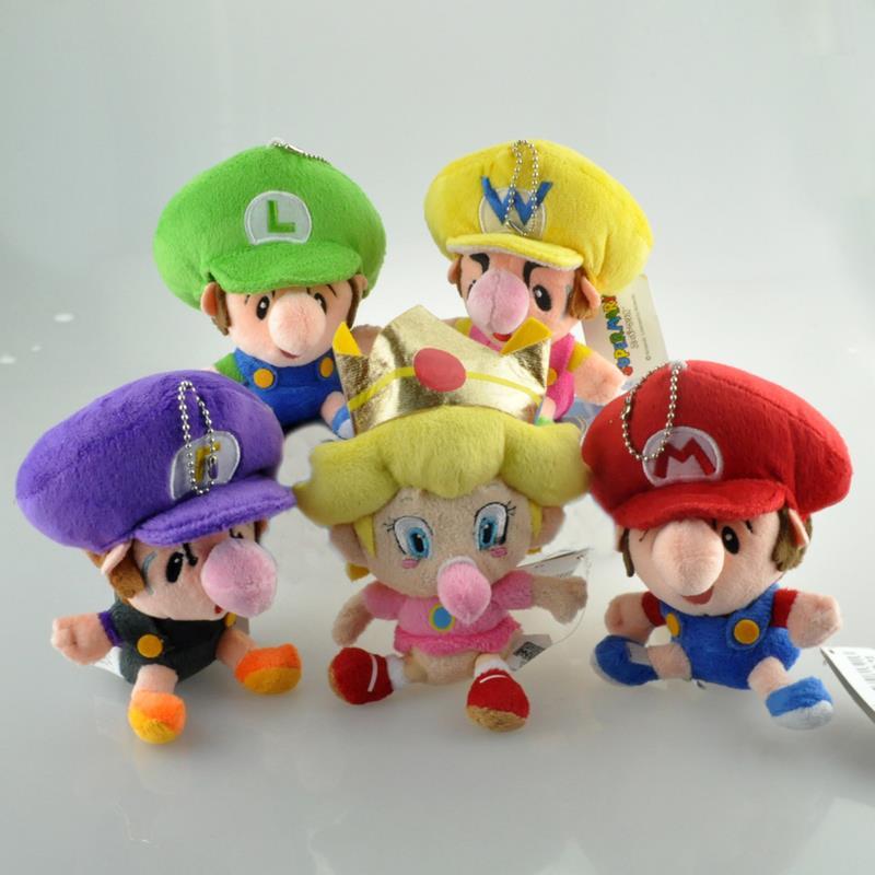 1pcs Super Mario Bros Plush Toys 14cm Baby Mario Luigi Wario Waluigi Peach Plush Keychain Mini Soft Stuffed Plush Doll 5 Colors(China (Mainland))