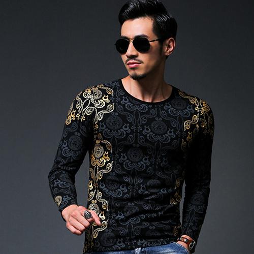 2016 New Product Men's Fashion Sexy Slim Fit Gilding Design Man O Neck Long Sleeve(China (Mainland))