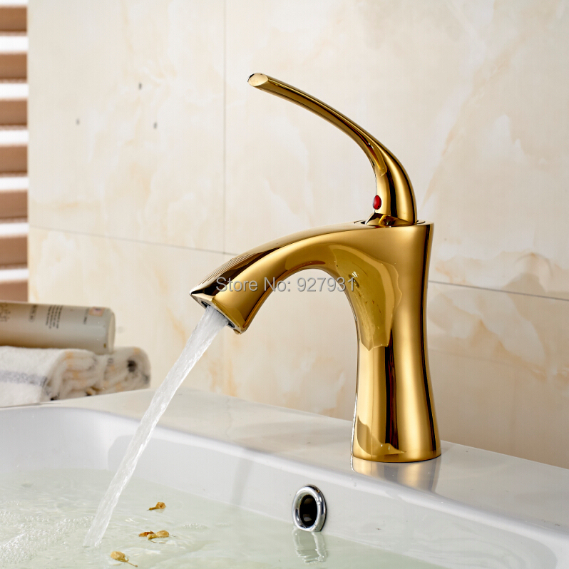 Free Shipping Deck Mounted One Hole Hot and Cold Water Faucet Polished Golden Basin Mixer Taps(China (Mainland))