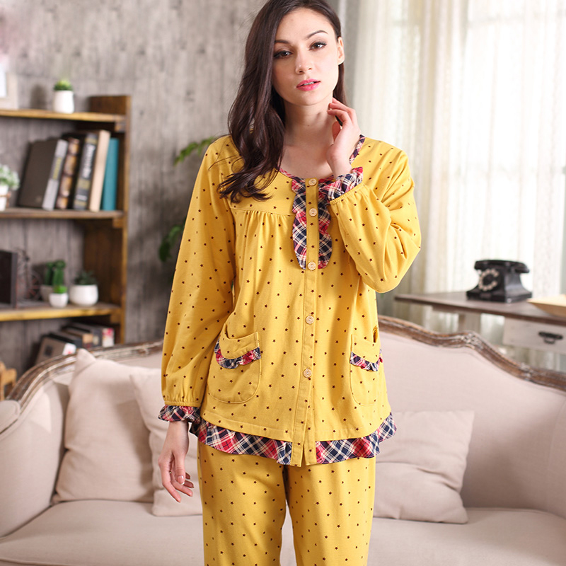 100% cotton women pajamas sets polka dot Spring lace long sleeve pijamas female casual homewear soft close-skin sleepwear A5102(China (Mainland))