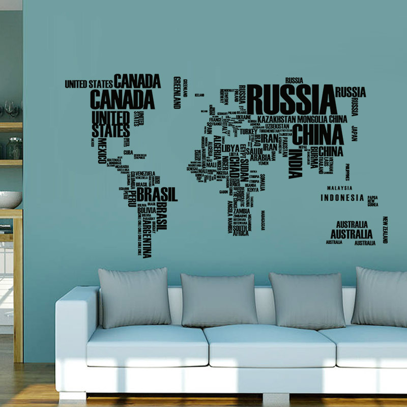 3 Colors World Map Wall Stickers Original Creative
