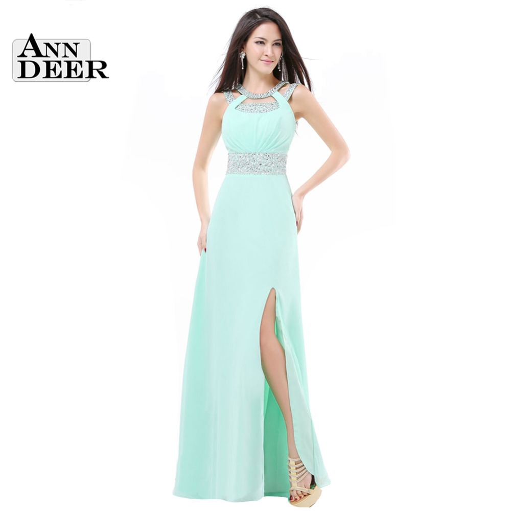 2016 new design side split plus size long mint green cheap