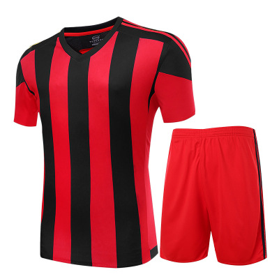 2016 Brand Striped Soccer Jersey Sets 4Colors Short Sleeve Men's Breathable Football Jersey Suits(China (Mainland))