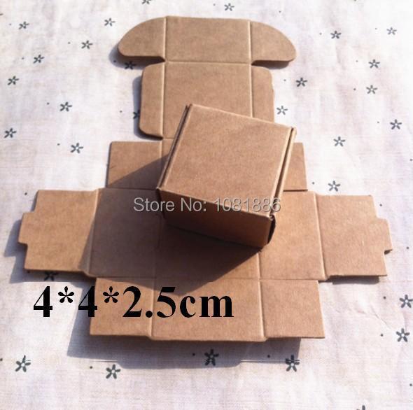 Free shipping size 4*4*2.5cm Ecofriendly Recycled kraft paper gift boxes,small brown kraft box(China (Mainland))