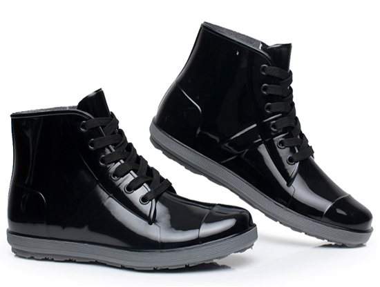 Plus Size 44 Men And Women Couple Rain Boots 2015 New Arrive Slip Fashion Waterproof Shoes Black Lace-Up chaussure femme <br><br>Aliexpress