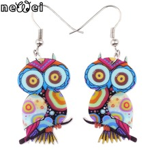 Bonsny Drop Owl Earrings Jewelry Long Dangle Earring Acrylic Cute Pattern Fashion For Women 2015 New Style Girl Accessories