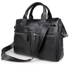 Quality Classic Vintage Genuine Cow Leather Men's Black / Coffee Briefcase Portfolio Handbag Laptop Bag Messenger Bags #MD-J7122(China (Mainland))