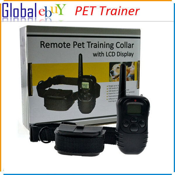 New 300M 100LV Anti Back Dog Shock Training Collar LCD Mode Display Remote Control Pet Trainer Kit Black(China (Mainland))