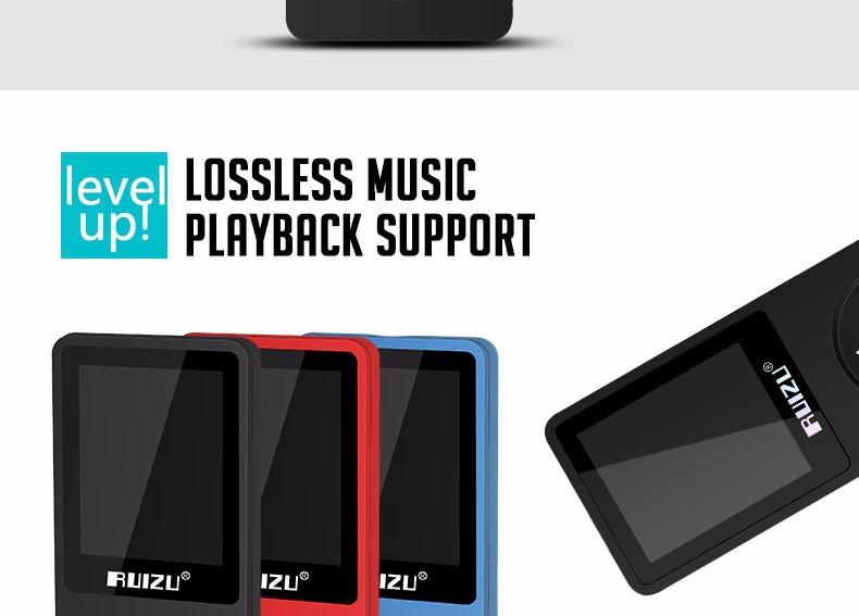 "1.8"" TFT Screen Black RuiZu X02 HiFi 4G Reproductor Sport Music Mp3 Player FM Recorder"