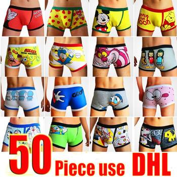 Wholesale 50pcs/lot Men's Underwear 95% Cotton Cartoon Men Boxers Comfortable Mens Shorts Sexy Soft Men Panties