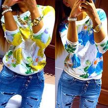 2015 fashion Women autumn harajuku t Shirt Casual long sleeve floral print T Shirts long sleeve cotton tops tees(China (Mainland))