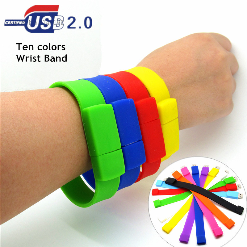 Silicone Bracelet Wrist Band USB Flash Drive 4GB 8GB 16GB 32GB USB 2.0 Pen Drive Stick U Disk Pendrives 100% real capacity(China (Mainland))