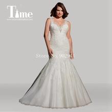 plus size wedding dresses v neck 2015 backless beaded lace bridal gowns applique mermaid Vestidos De Noiva court train(China (Mainland))