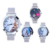 Caliente! 2015 nuevas mujeres de cuarzo reloj de esfera redonda de malla correa de acero reloj reloj Simple patrón 4 estilos envío gratis