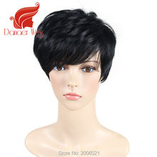 Modern Lady's wigs Black Short Straight Synthetic Wigs with Heat Resistant fiber Wig that Look real American African Women Hair