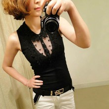 Fashion Women Tank Top Clear Lace Collar Sleeveless Cotton Vest Tops Slim Solid T-shirt 2015(China (Mainland))
