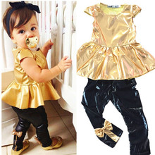 2015 Hot Selling Fashion Baby Girls Kids Shirt Dress+Legging Pants Children Clothes Sets Suit Outfits Golden+Black New(China (Mainland))