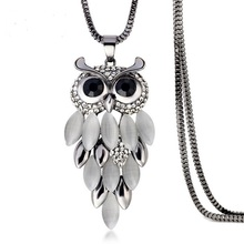 New Brand Design Fashion Gold Silver Necklaces Women Jewelry Crystal Rhinestone Gem CZ Diamond Owl Long