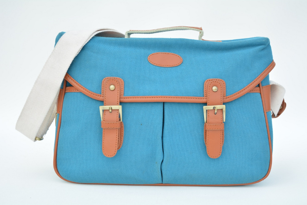 Flap cover 2016 New arrival canvas crossbody camera messenger bag genuine leather straps lovely blue saddle bags<br><br>Aliexpress