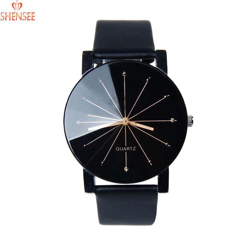 Гаджет  SHENSEE Top Quality Women Quartz Dial Clock Leather Wrist Watch Round Case Relogio Masculino None Ювелирные изделия и часы