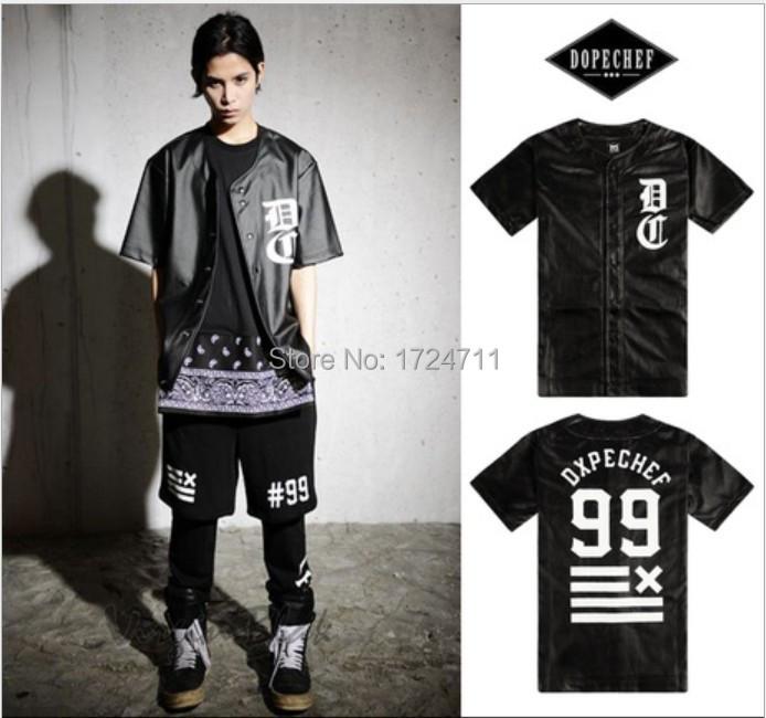 2015 men t shirt hip hop faux leather baseball jersey tshirt brand streetwear dxpe chef cardigan(China (Mainland))