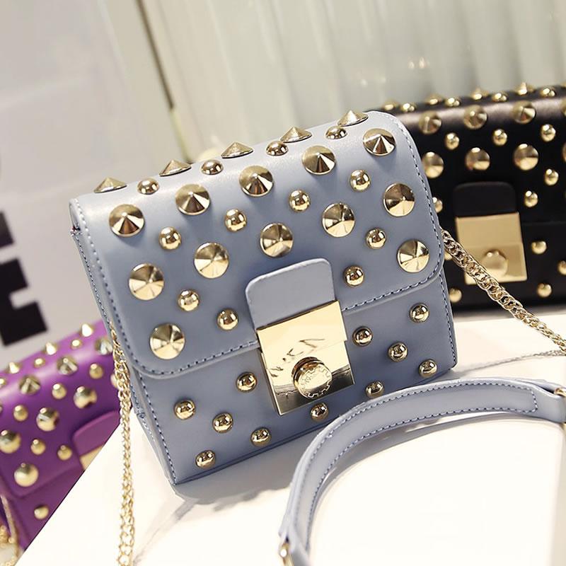 Free Shippingc2015 women's spring handbag fashion personality rivet chain bag shoulder bag cross-body small bags(China (Mainland))