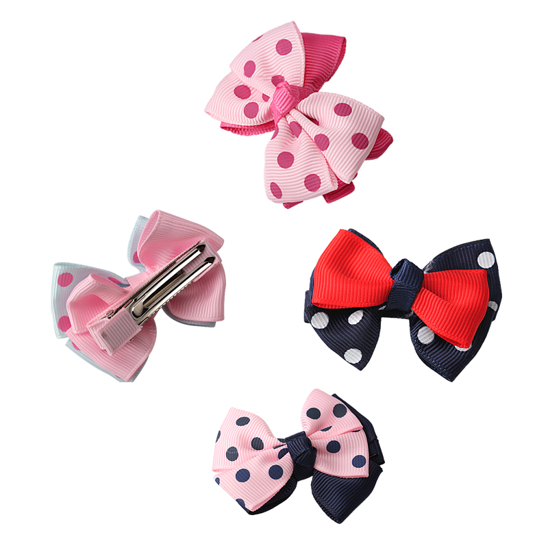 M MISM 4 Patterns Double Layers Hair Accessories Perfect Quality Ribbon Bow Hairclips Kids Girls Hair Care Hairpins Hearwear(China (Mainland))