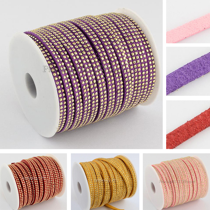 25yard/roll Korean Punk Rock Rhinestones Soutache Faux Suede Cord 5mm Bracelets Jewelry Making diy Choker Necklace - PandaHall LTD's store