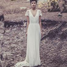 Buy Custom Laure de Sagazan Bridal Gowns sleeve lace vintage Sexy backless V Neck Bohemian beach wedding dresses boho 2017 for $145.00 in AliExpress store