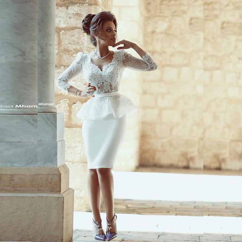 Vestido лонго сшитое V Шеи Белый Короткие Пром платья Дубай Саудовская Аравия платье Выпускного Вечера