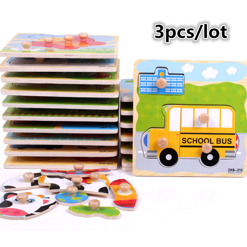 3pcs/lot 3D baby Kid Early educational hand grasp jigsaw toys wooden puzzle Animal insect learning education wooden toy(wxt025)(China (Mainland))