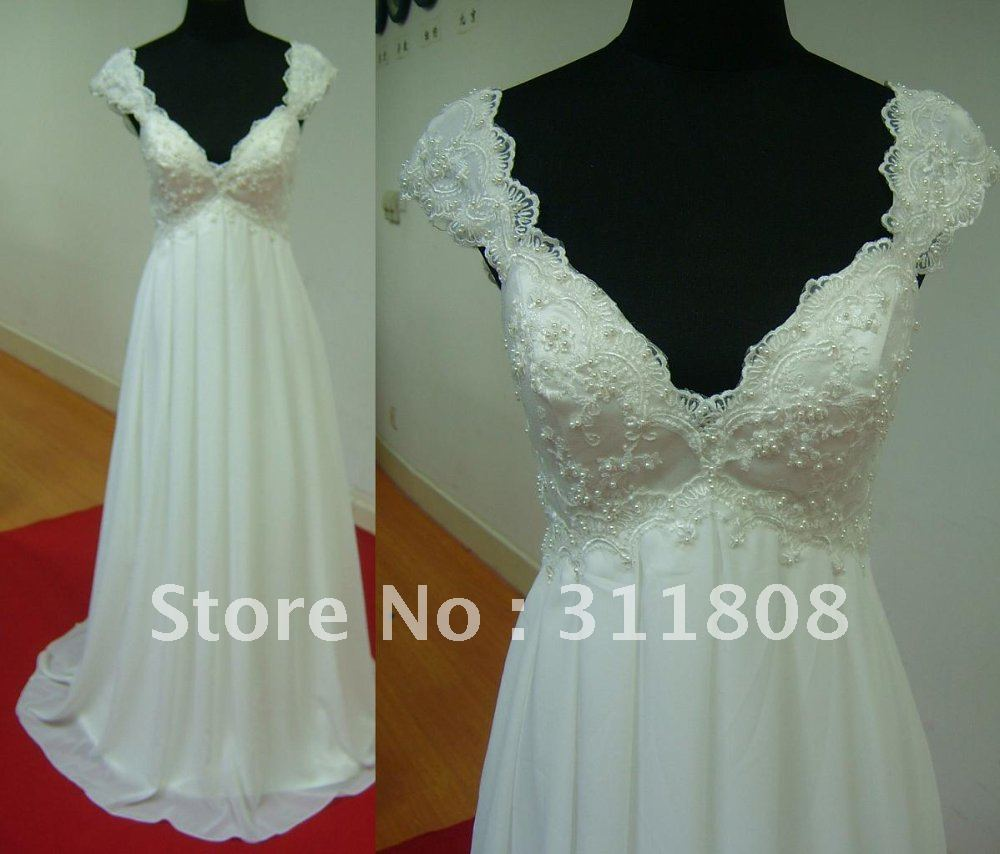 Best selling cap sleeve pearls chiffon a line low back for Beach wedding dress low back