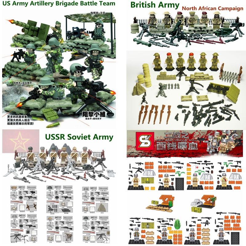 product 2016 Super Heroes SWAT Minifigures The Second World War II <font><b>WW2</b></font> Police Military Army Camp Building Blocks Brick Toys legoelieds