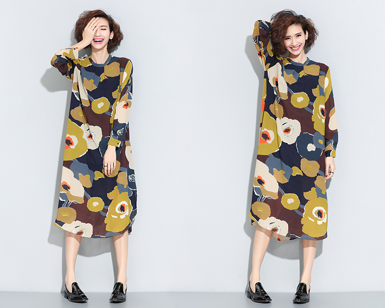 2016 New Arrival Plus Size Maternity Dress Casual Boat Neck High Quality Asymmetrical Floral Printing Chiffon Pregnancy Clothes<br><br>Aliexpress