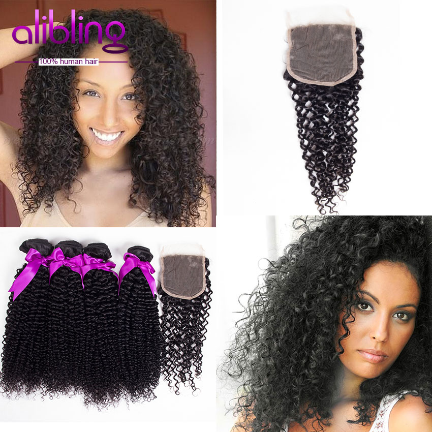 Brazilian Virgin Hair Kinky Curly 4 Bundles With Lace Closure Brazilian Virgin Hair Weave Bundles 7A Unprocessed Jerry Curly(China (Mainland))