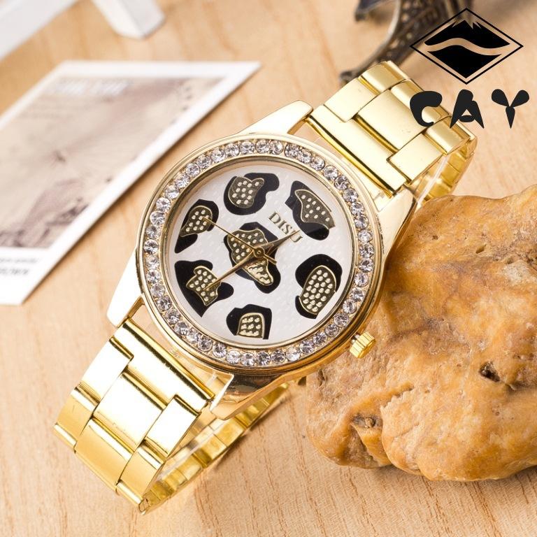 LTP0641 golden fashion leopard point diamond head watch hot Sell not mechanical Steel belt gold watch(China (Mainland))