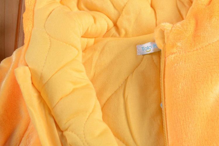 Скидки на Милый желтый утка закрытый воротник детские комбинезоны одежда костюм для младенцы фланель