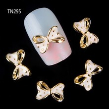 2015 NEW 10 Pcs Gold Drop of oil Hollow Bownot 3D Nail Tools Rhinestone For Nails Alloy Decoration Nail Art Glitters DIY TN295