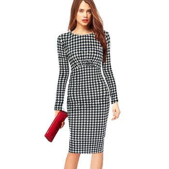 Платье свободного покроя длинный рукав, женщины одежда осень узор в горошек принт ...